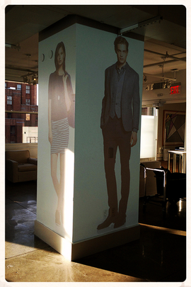 _AV Rentals Two Panasonic 5.5K projectors wall 90 degrees projection installation in Banana Republic corporate office