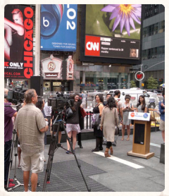 Video recording on Time Square, Broadway, NYC