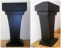 Wooden Podium, Wood Black Curved Lectern, Drawer & Storage Area, Black MDF