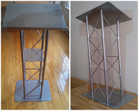 Truss podium, truss lecterns Floor Truss Lectern with Interior Shelf and Aluminum Silver Finish.