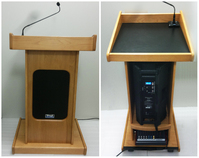 AV podium, wooden podiums: the Audio Admiral Lectern with Oak Finish