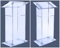 Clear podium, lucite pulpit: Modern Acrylic Lectern with Shelf, Clear.