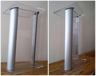 Clear lucite lectern, lucite pulpits: Contemporary Aluminum and Acrylic Podium with Spacious Reading Surface.