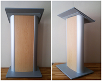 Transparent podium, clear lecterns, clear podiums: Modern Lectern with Maple-colored Front Panel.