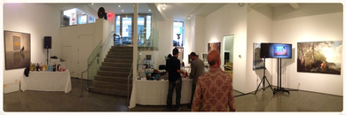 AV Rentals 46'' TV on floor stand and sound system in-house NYC art gallery setup